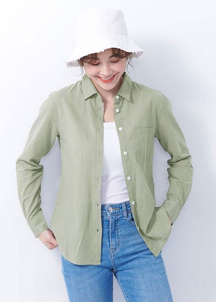 單口袋長袖襯衫