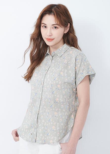 休閒連袖反摺襯衫