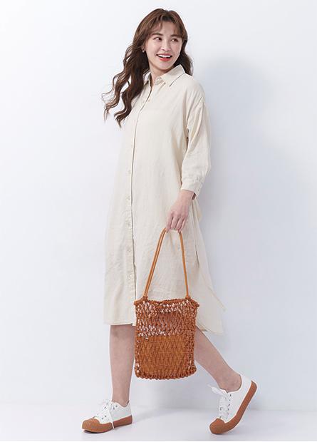 襯衫式綁帶洋裝