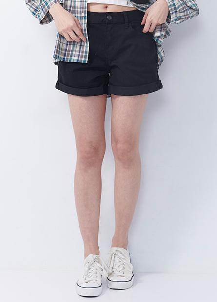 基本反摺牛仔短褲