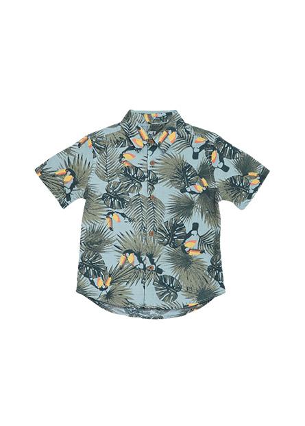男嬰基本印花襯衫