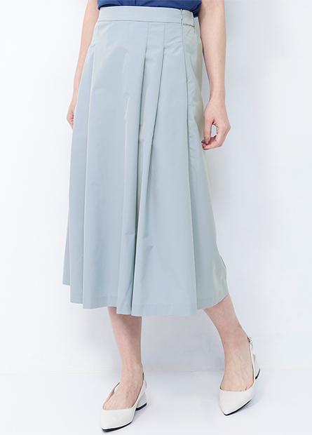 後鬆緊打褶中長裙