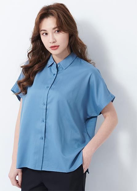 法式袖嫘縈襯衫