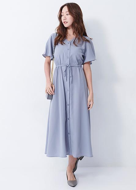 V領縮腰洋裝