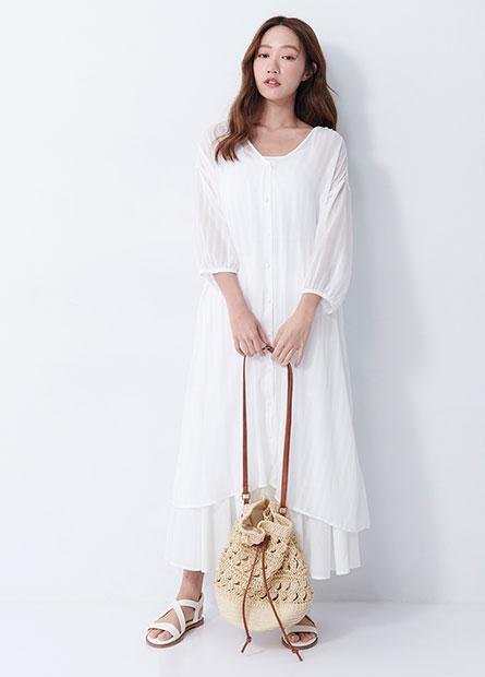 排釦雪紡長版罩衫