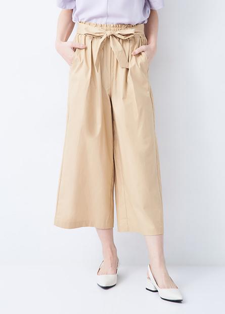 鬆緊綁帶打褶中長寬褲