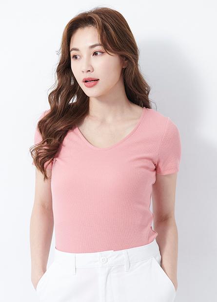 羅紋V領多色T恤