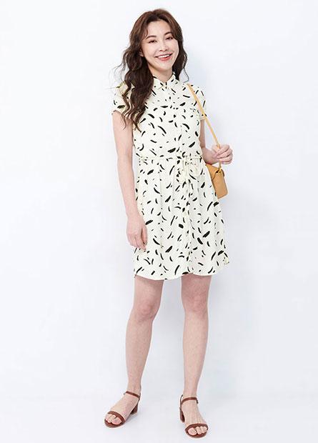 襯衫領印花短袖洋裝