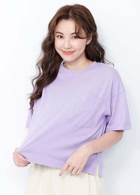 素色單口袋寬鬆T恤