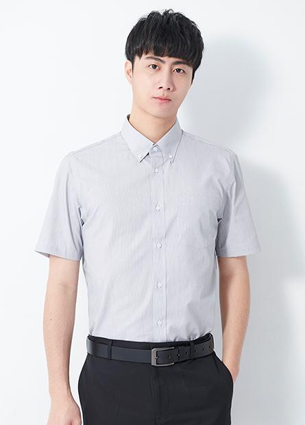 修身釘釦領商務短袖襯衫