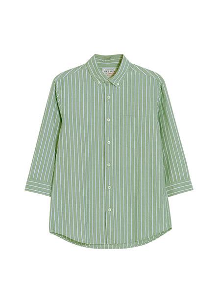 印花七分袖襯衫