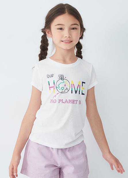 女童愛地球印花T恤