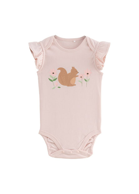 女嬰荷葉袖印花包臀衣