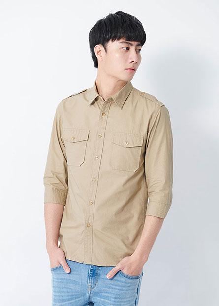 肩釦休閒七分袖襯衫