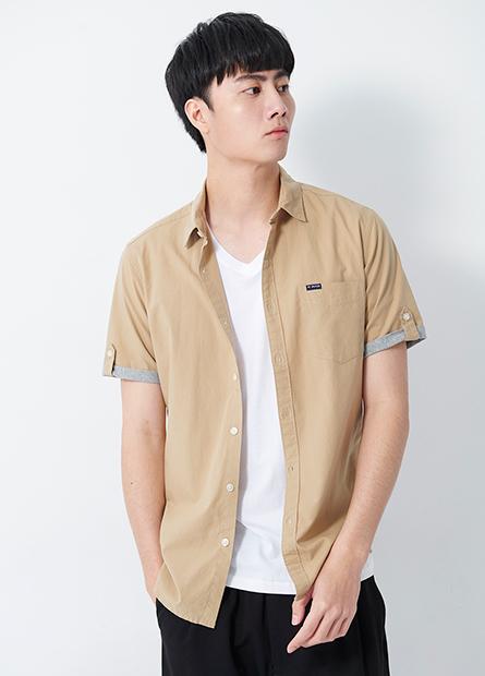 單口袋反摺短袖襯衫