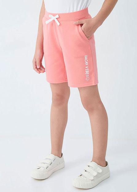 女童側邊字樣休閒短褲