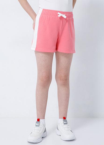 女童斜邊撞色綁帶短褲