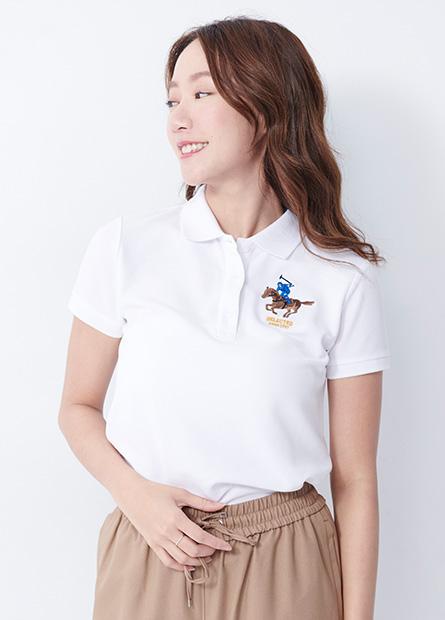 刺繡網眼短袖POLO衫