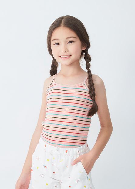 女童彩色針織細肩帶背心
