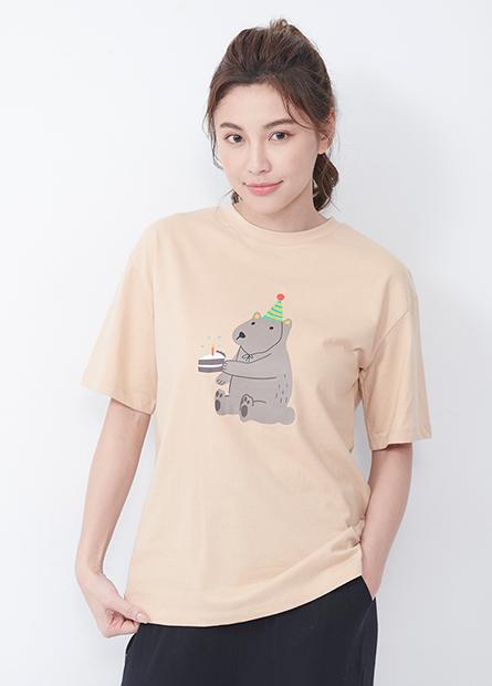 動物印花落肩T恤