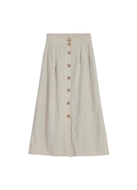 後鬆緊排釦打摺長裙