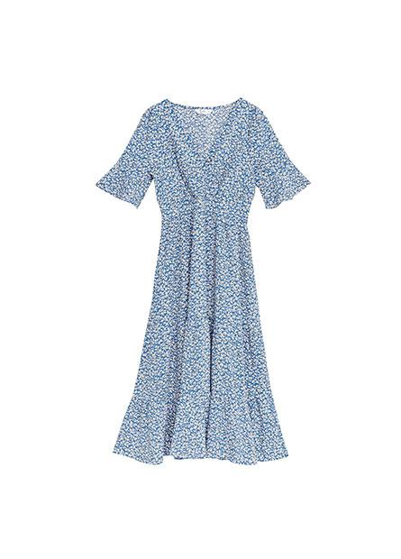 縮腰V領五分袖洋裝