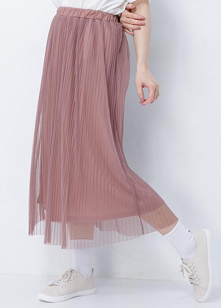 素色網紗長裙