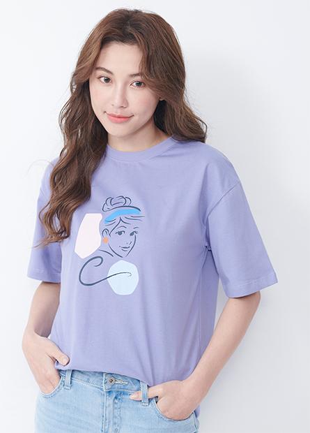 公主印花寬鬆T恤