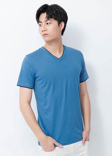 素色V領假兩件T恤