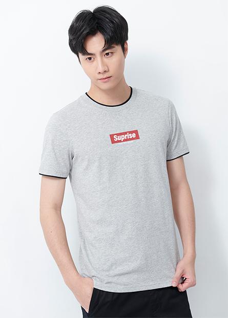 Suprise印字假兩件T恤