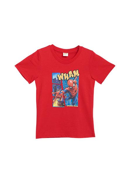 男童蜘蛛人跳躍城市印花T恤