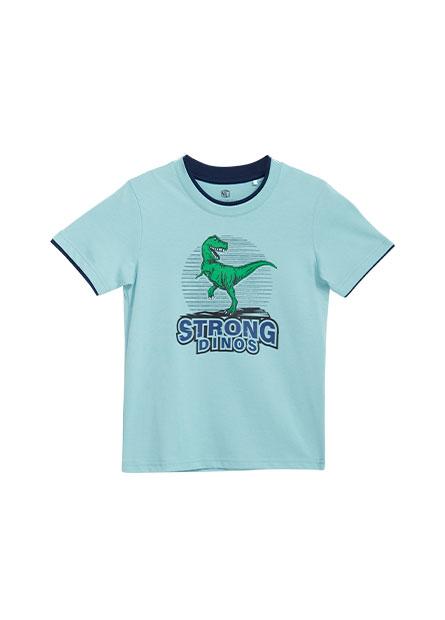 男童恐龍印花雙色領T恤