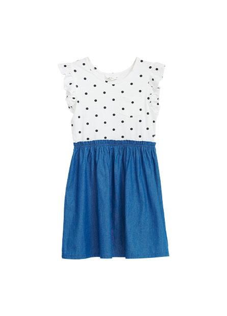 女童荷葉袖拼接洋裝