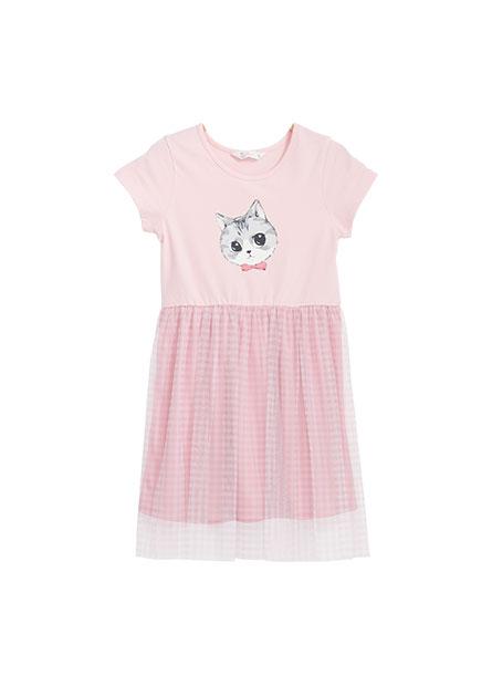 女童貓咪中腰網紗洋裝
