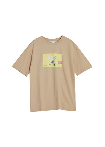 一束花手繪印花T恤