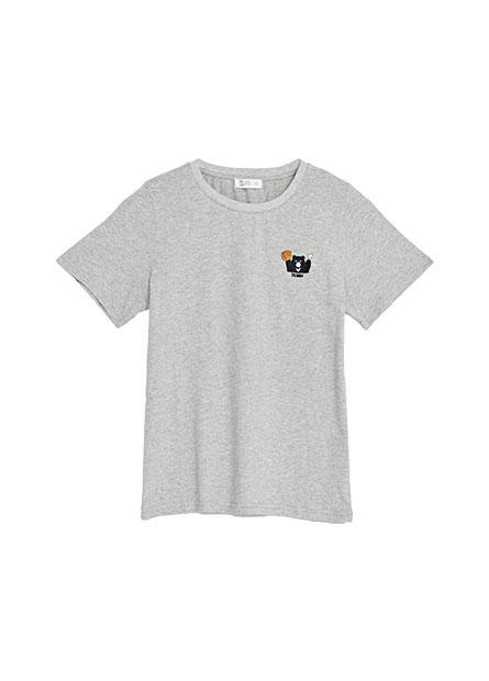俏皮黑熊刺繡T恤