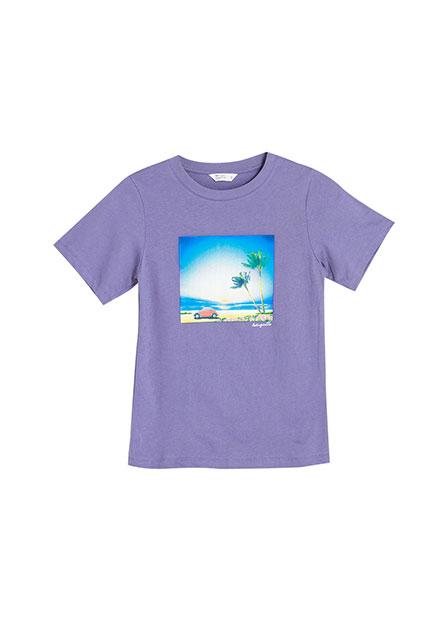 復古海灘風景印花T恤