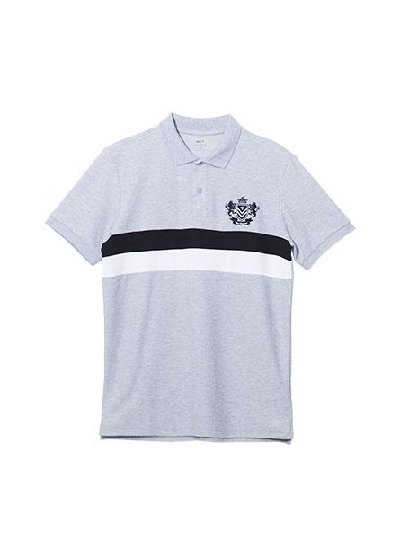 獅子刺繡寬條紋POLO衫