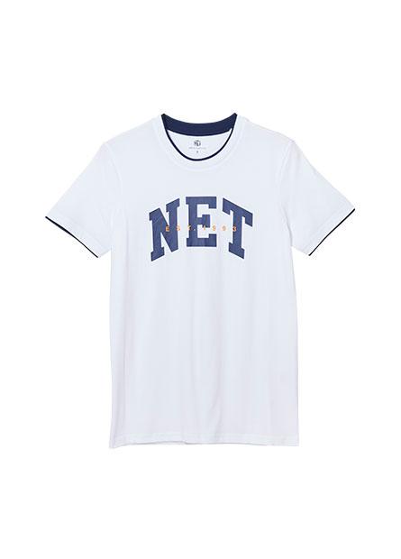NET字樣假兩件印花T恤
