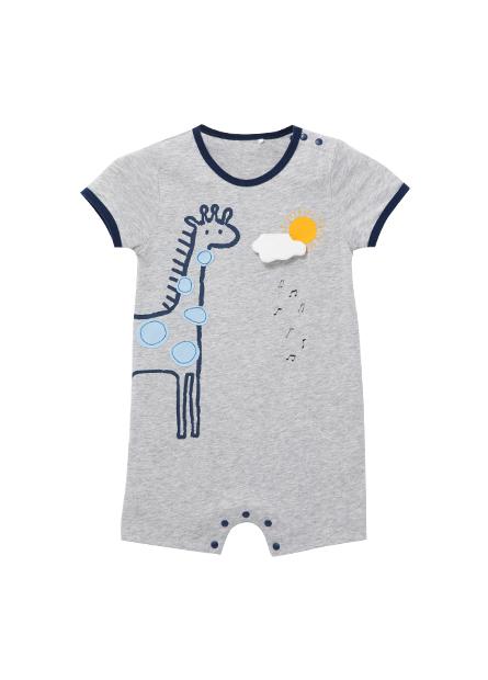 嬰兒動物印花短袖包臀衣