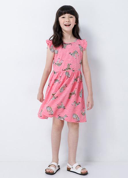 女童荷葉袖印花洋裝