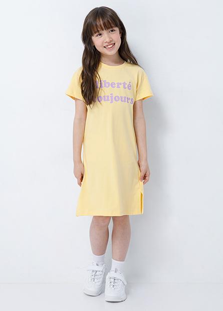 女童字樣側開岔洋裝