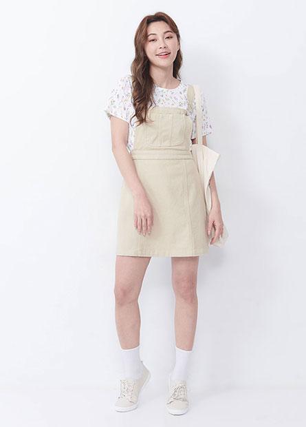 後鬆緊吊帶短裙