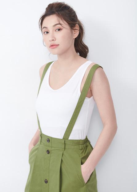 素色竹節棉寬肩背心