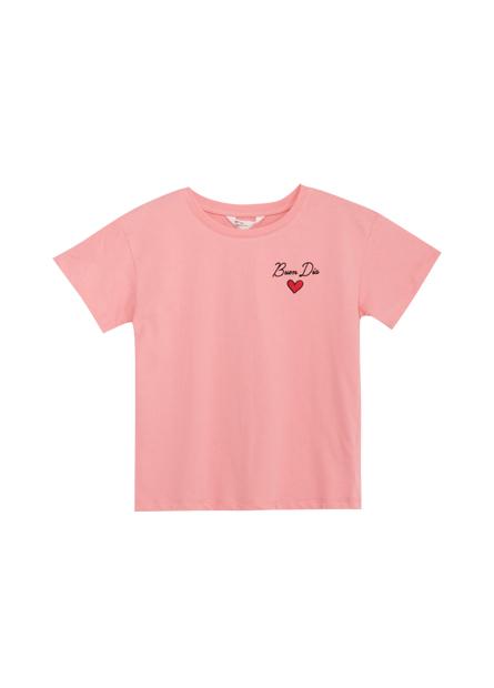 女童英文繡字落肩T恤