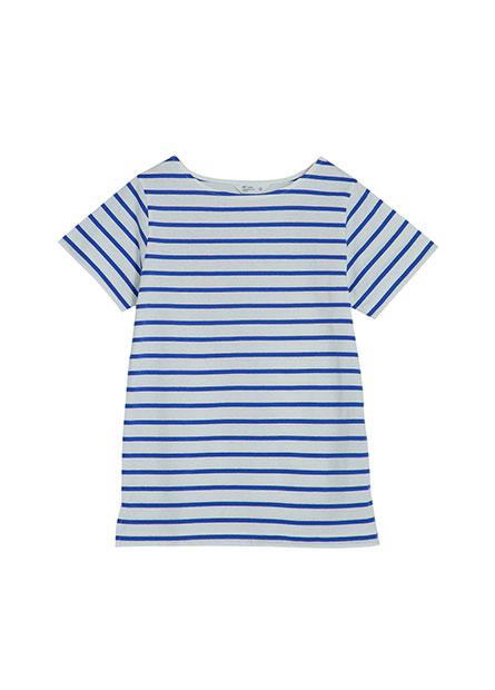 寬領條紋短袖T恤
