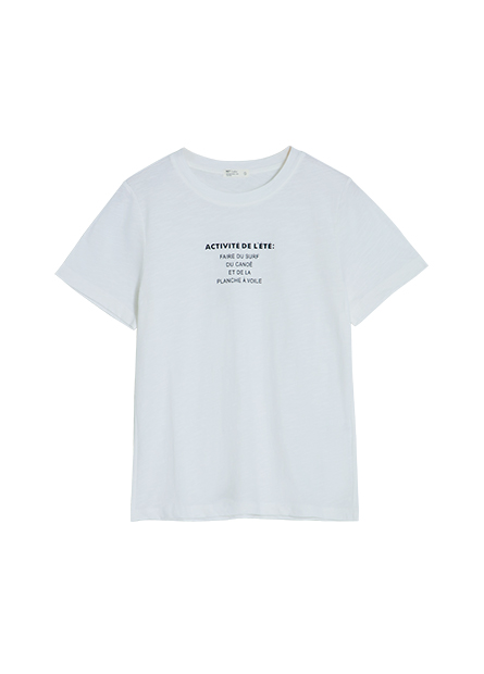 簡約印字竹節棉T恤