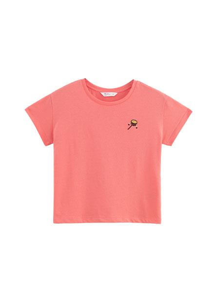 女童刺繡落肩T恤
