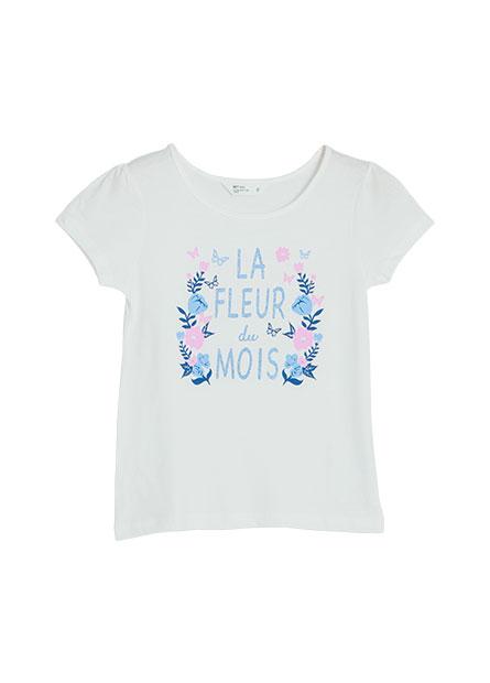 女童花圈公主袖印花T恤