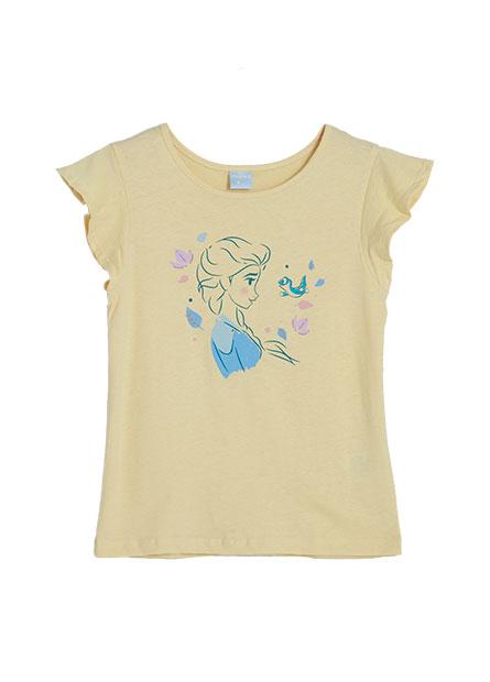 女童Elsa荷葉袖印花T恤